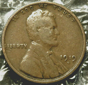 1919 D LINCOLN WHEAT CENT. FINE COIN. BOLD DATE AND MINT MARK. V04