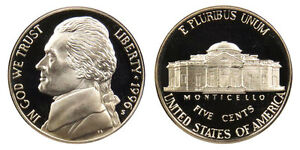 1996 S GEM BU PROOF JEFFERSON NICKEL 5 CENT BRILLIANT UNCIRCULATED US COIN PF