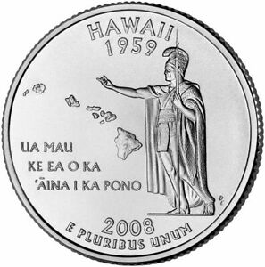 2008 D HAWAII STATE QUARTER A BU COIN CLAD. FINISH YOUR COIN BOOK 0259