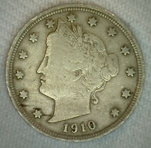 1910 US LIBERTY NICKEL FIVE 5 CENT COIN COPPER NICKEL FINE