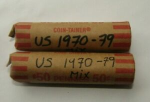 1970 TO 1979 LINCOLN PENNY 2 ROLL  100 CIRCULATED COPPER