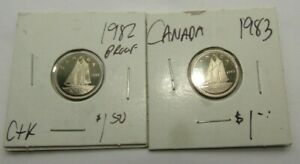 LOT OF 2 CANADA PROOF GEM UNC TEN CENT PIECE   1982 AND 1983