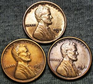 1915 D 1924 S 1925 S LINCOLN CENT WHEAT PENNY LOT       NICE DETAILS      T250