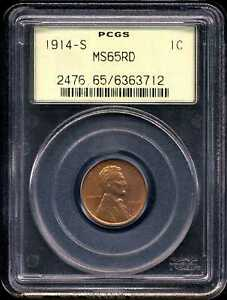 Click now to see the BUY IT NOW Price! 1914 S 1C LINCOLN WHEAT CENT MS65RD PCGS 6363712