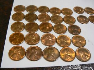 34 PIECE ROLL 1953 S LINCOLN CENTS RED GEM BU TO GOOD