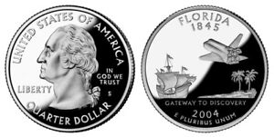 SILVER 2004 S GEM BU PROOF FLORIDA STATE QUARTER UNCIRCULATED PF COIN3878