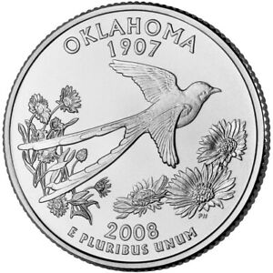 OKLAHOMA  2008  STATE QUARTER 25C BRILLIANT UNCIRCULATED