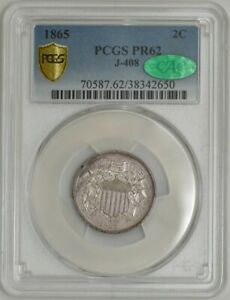 Click now to see the BUY IT NOW Price! 1865 TWO CENT 2C PATTERN J 408 R.7  PR62 SECURE PLUS PCGS   CAC 941990 9