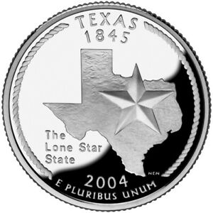 2004 S SILVER GEM PROOF TEXAS STATE QUARTER 90  SILVER