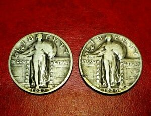 1927  1929  STANDING LIBERTY QUARTER 90    SILVER LOT OF TWO