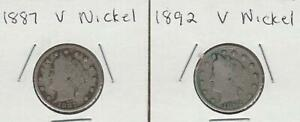1887 1892 LIBERTY V NICKELS ALMOST FULL LIBERTY'S WHICH BOOK FOR $61 IN FINE