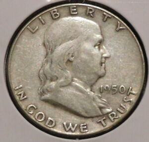 FRANKLIN HALF DOLLAR   1950   HISTORIC SILVER    $1 UNLIMITED SHIPPING