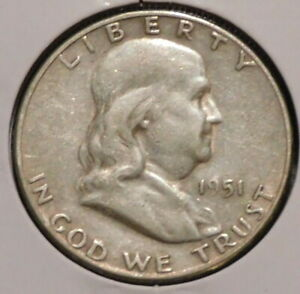 FRANKLIN HALF DOLLAR   1951 S   HISTORIC SILVER    $1 UNLIMITED SHIPPING
