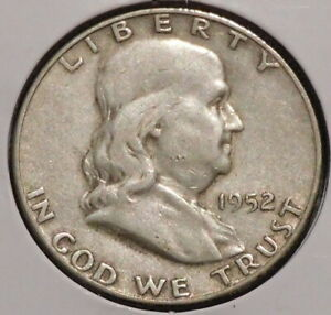 FRANKLIN HALF DOLLAR   1952 S   HISTORIC SILVER    $1 UNLIMITED SHIPPING