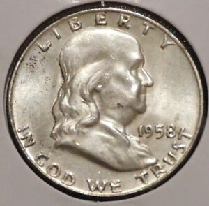 FRANKLIN HALF DOLLAR   1958 D   HISTORIC SILVER    $1 UNLIMITED SHIPPING