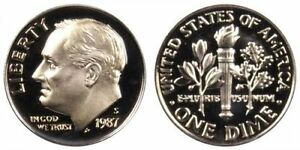 1987 S GEM BU PROOF ROOSEVELT DIME 10 CENT BRILLIANT UNCIRCULATED US COIN PF