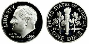 2005 S GEM BU PROOF ROOSEVELT DIME 10 CENT BRILLIANT UNCIRCULATED US COIN PF