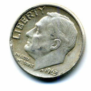 1963 D ROOSEVELT DIME SILVER 10 CENT SHARP ABOVE AVERAGE DETAIL NICE COIN419