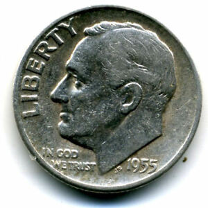 1955 S ROOSEVELT DIME SILVER 10 CENT SHARP ABOVE AVERAGE DETAIL NICE COIN4186