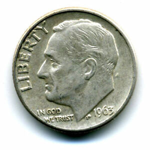 1963 D ROOSEVELT DIME SILVER 10 CENT SHARP ABOVE AVERAGE DETAIL NICE COIN422