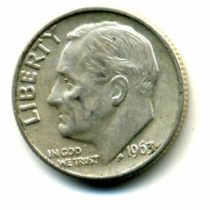 1963 D ROOSEVELT DIME SILVER 10 CENT SHARP ABOVE AVERAGE DETAIL NICE COIN395
