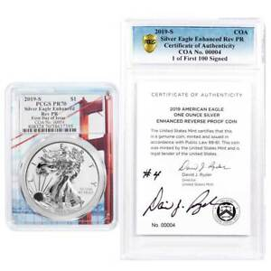 Click now to see the BUY IT NOW Price! 2019 S ENHANCED REVERSE PROOF $1 AMERICAN SILVER EAGLE / COA 00004 SIGNED PCGS