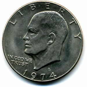 NICE 1974 D EISENHOWER DOLLAR CHOICE BRILLIANT UNCIRCULATED MINT STATE COIN3507