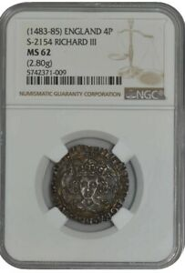 Click now to see the BUY IT NOW Price!  1483 85  ENGLAND 4 P S 2154 RICHARD III MS62 NGC 942436 1