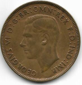 AUSTRALIA 1938 1 PENNY COIN   XF/ABOUT UNCIRCULATED CONDITION