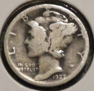SILVER MERCURY DIME   1927 S   EARLY DATES    $1 UNLIMITED SHIPPING