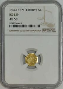 Click now to see the BUY IT NOW Price! 1854 $ OCTAGONAL LIBERTY GOLD DOLLAR BG 529 AU58 NGC 942131 45