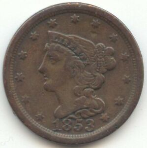 1853 BRAIDED HAIR HALF CENT VF