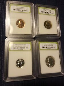 1960 SLABBED SILVER PROOF SET  HIGH GRADE FOUR COIN PENNY NICKEL DIME QUARTER A