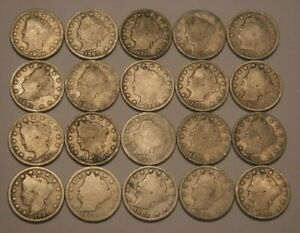 HALF ROLL OF LIBERTY V NICKELS1890 191220 COINS IN ALL NICE SELECTION OF DATES