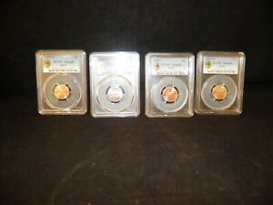 Z5Q LOT OF 4 PCGS SAMPLE LINCOLN SHIELD COINS 1  2014D 1   2014 2 ARE 2015D