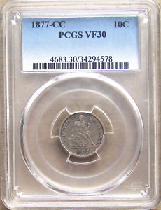 Click now to see the BUY IT NOW Price! 1877 CC LIBERTY SEATED DIME TYPE 2 F 102  R5   VARIETY PCGS VF30