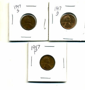 1947 P D S WHEAT PENNIES LINCOLN CENTS CIRCULATED 2X2 FLIPS 3 COIN PDS SET1673