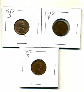 1952 P D S WHEAT PENNIES LINCOLN CENTS CIRCULATED 2X2 FLIPS 3 COIN PDS SET340