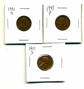 1941 P D S WHEAT PENNIES LINCOLN CENTS CIRCULATED 2X2 FLIPS 3 COIN PDS SET1311