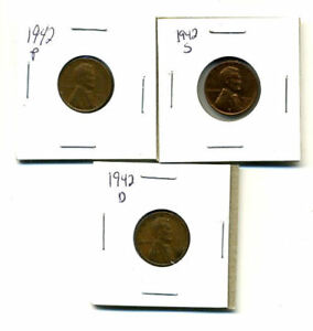 1942 P D S WHEAT PENNIES LINCOLN CENTS CIRCULATED 2X2 FLIPS 3 COIN PDS SET3179