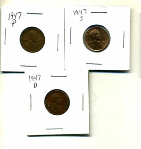 1947 P D S WHEAT PENNIES LINCOLN CENTS CIRCULATED 2X2 FLIPS 3 COIN PDS SET3114