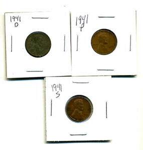1941 P D S WHEAT PENNIES LINCOLN CENTS CIRCULATED 2X2 FLIPS 3 COIN PDS SET1299