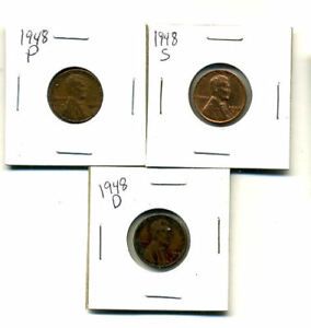 1948 P D S WHEAT PENNIES LINCOLN CENTS CIRCULATED 2X2 FLIPS 3 COIN PDS SET1008