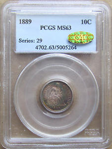 1889 SEATED DIME APPEALING & VIBRANT RAINBOW TONING GEM PCGS MS 63 GOLD CAC