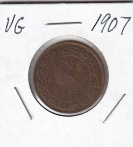 1907 CANADA ONE 1 CENT EDWARD VII LARGE PENNY COIN GOOD