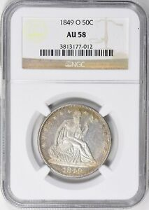 1849 O NGC AU58 SEATED LIBERTY 50C HALF DOLLAR ONLY 50 GRADED HIGHER BY NGC PCGS