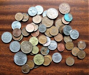 56 CIRCULATED MIXED FOREIGN COIN LOT   UNITED KINGDOM CANADA FRANCE AND EURO