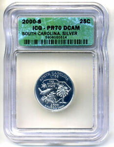 ICG PR70DCAM 2000 S SILVER PROOF SOUTH CAROLINA STATE QUARTER UNCIRCULATED COIN