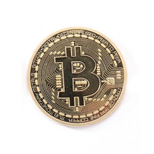 GOLD PLATED PHYSICAL BITCOINS CASASCIUS BIT COIN BTC WITH CASE COMMEMORATIVE