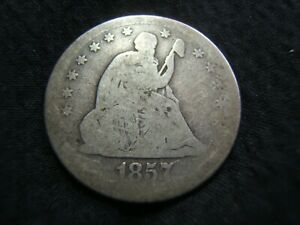 1857 O SILVER SEATED LIBERTY QUARTER G/VG  AFFORDABLE EARLY QUARTER